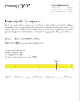 Progressive matrix test